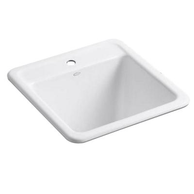 KOHLER Park Falls Top-Mount Cast Iron 21x22x13.625 1-Hole Utility Sink in White