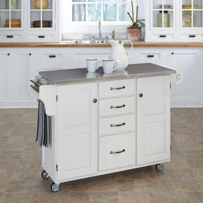 Home Styles Large Create-a-Cart in White with Stainless Top
