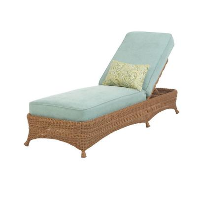 Martha Stewart Living Lily Bay Wicker Patio Chaise with Sky Cushions-DISCONTINUED