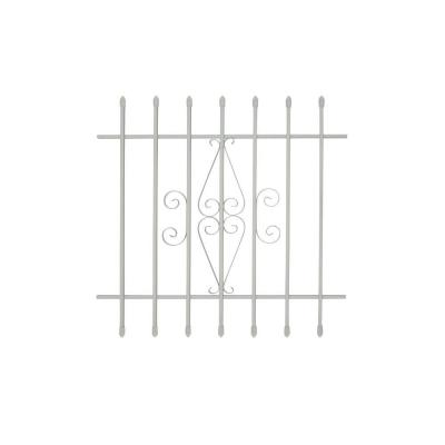 36 in. x 36 in. Spear Point 7-Bar Security Bar Window Guard, White Product Photo