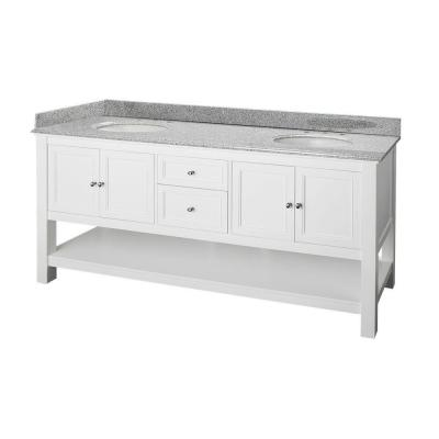 Home Decorators Collection Gazette 72 in. Double Basin Vanity in White with Granite Vanity Top in Rushmore Grey