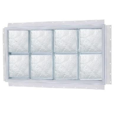 TAFCO WINDOWS 24 in. x 16 in. NailUp Ice Pattern Solid Glass Block Window