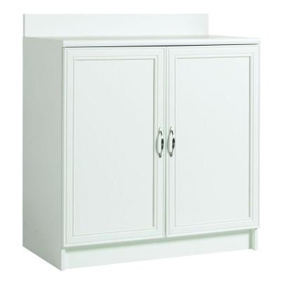 akadaHOME 2-Shelf Laminate Base Cabinet with Worktop in White