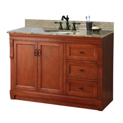 Foremost Naples 49 in. W x 22 in. D Vanity with Right Drawers in Warm Cinnamon with Granite Vanity Top in Quadro