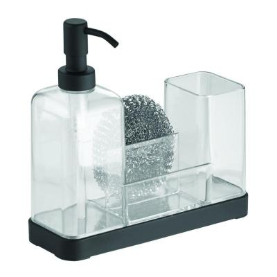 Forma 2 Soap and Brush Caddy in Matte Black/Clear