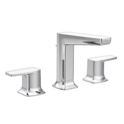 Via 8 in. Widespread 2-Handle Low-Arc Bathroom Faucet in Chrome