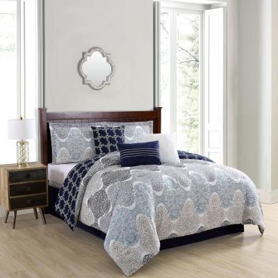 Caspian 7-Piece Taupe/Blue/Grey Comforter Set