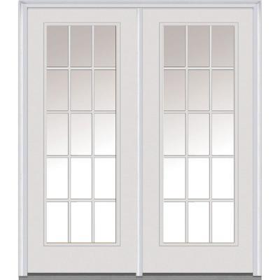 Classic Clear Glass Fiberglass Smooth Prehung Left-Hand Inswing 15 Lite Patio Door