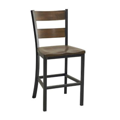 Cabin creek chestnut vintage wood and metal bar stool 5411 89 the home depot Home depot wood bar stools