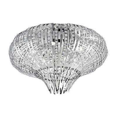 Monica Collection 9-Light Chrome and Clear Flushmount