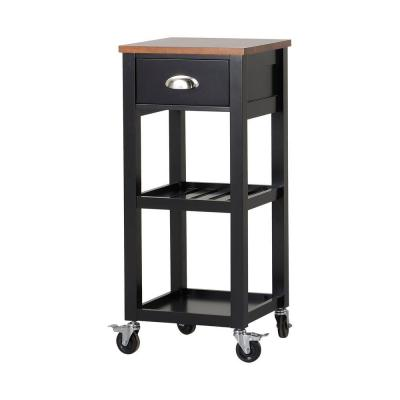 15.75 in. W MDF Mobile Kitchen Island Cart in Black with Drawer Product Photo