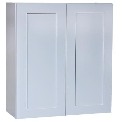 Plywell Ready to Assemble 30x12x12 in. Shaker High Double Door Wall Cabinet in Gray