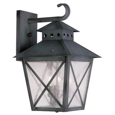 Filament Design Providence Wall-Mount 3-Light Outdoor Charcoal Incandescent Lantern