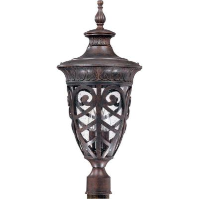 3-Light Outdoor Dark Plum Bronze Incandescent Post Light