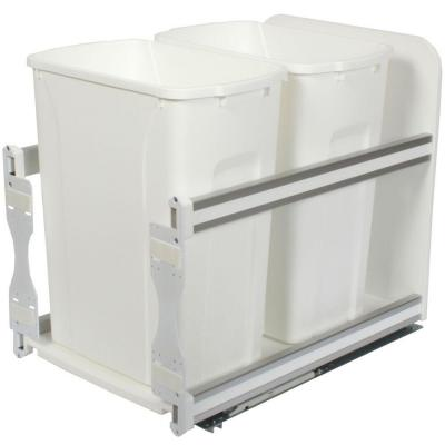 18 in. H x 15 in. W x 22 in. D Plastic In-Cabinet 35 Qt. Double Soft Close Pull-Out Trash Can in White Product Photo