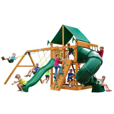 Mountaineer with Amber Posts and Deluxe Green Vinyl Canopy Cedar Playset