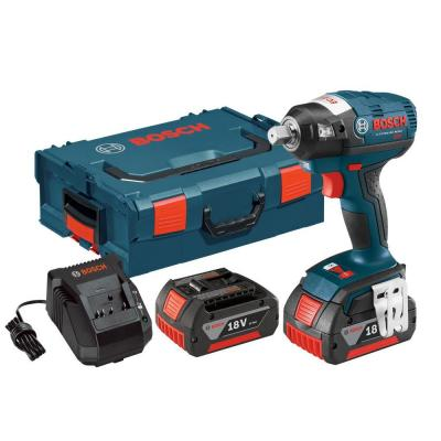 Bosch 18 Volt Lithium-Ion Cordless Electric 1/2 in. Brushless Square Drive Impact Wrench Kit with Detent Pin