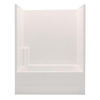 Aquatic Everyday 60 in. x 32 in. x 76 in. Right Drain 1-Piece Bath and Shower Kit in Biscuit