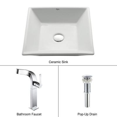 Flat Square Ceramic Vessel Sink in White with Typhon Faucet in