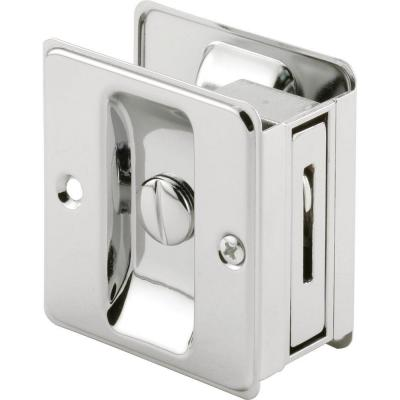 Prime-Line Chrome Plated Pocket Door Privacy Lock with Pull