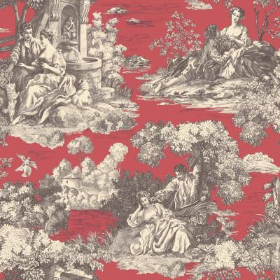 The Wallpaper Company 56 sq. ft. Red Romantic Toile Wallpaper