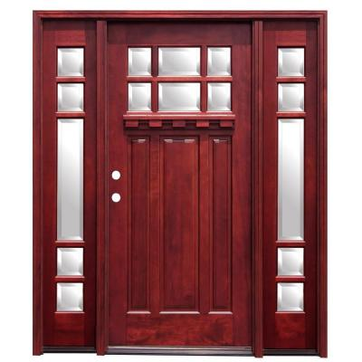 Pacific Entries 70 in. x 80 in. Craftsman 6 Lite Stained Mahogany Wood Prehung Front Door with Dentil Shelf and 14 in. Sidelites