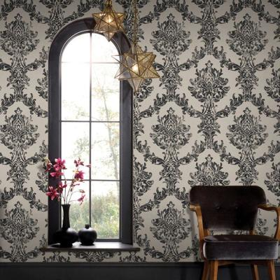 56 sq. ft. Charcoal and Gold Opal Damask Wallpaper