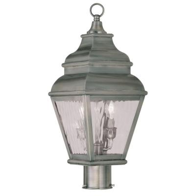 Filament Design Providence 2-Light 18.25 in. Outdoor Vintage Pewter Post Head Lantern