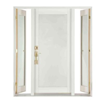 Pro Series White Full Lite Wood Prehung Front Door with Venting Sidelites Product Photo