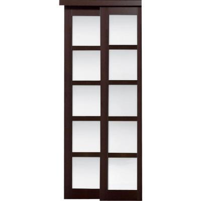 2240 Series Espresso 5-Lite Composite Grand Sliding Door