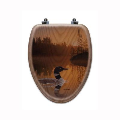 Stone Island Loon Elongated Closed Front Wood Toilet Seat in Oak Brown Product Photo