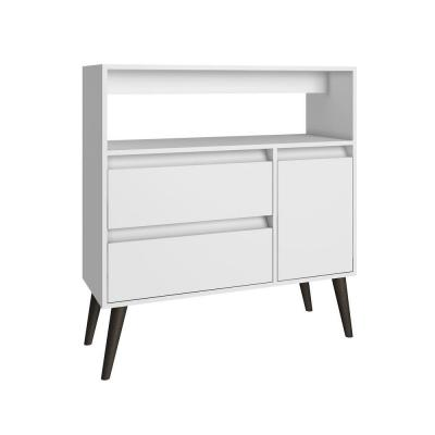 Gota Functional 1-Shelf, 2-Drawer Melamine MDP High Side Table in White Product Photo