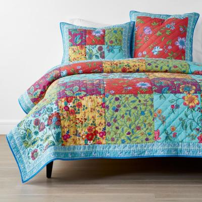 Sea Bright Patchwork Handcrafted Multicolored Cotton Quilt