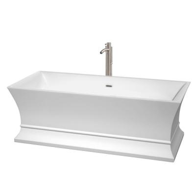 Jamie 5.6 ft. Acrylic Classic Flatbottom Non-Whirlpool Bathtub in White
