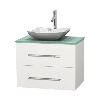Wyndham Collection Centra 30 in. Vanity in White with Glass Vanity Top in Green and Carrara Sink