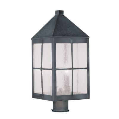 Filament Design Providence 3-Light 20 in. Outdoor Hammered Charcoal Post Head Lantern