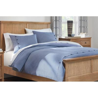 Rossman 3-Piece Steel Blue Buttons Duvet Cover Set