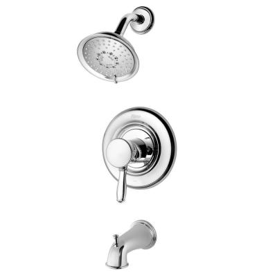 Universal Single-Handle Tub and Shower Faucet Trim Kit in Polished Chrome (Valve Not Included) Product Photo