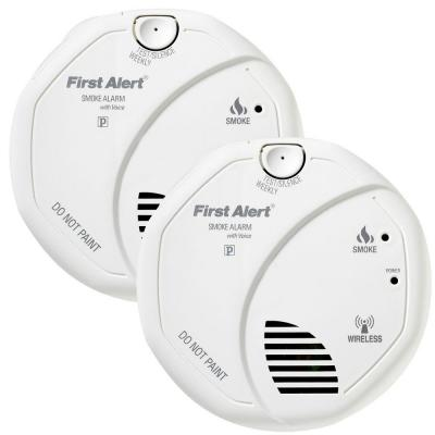 first alert wireless interconnect smoke detector with dvd 2 pack sa511cn2 3. Black Bedroom Furniture Sets. Home Design Ideas