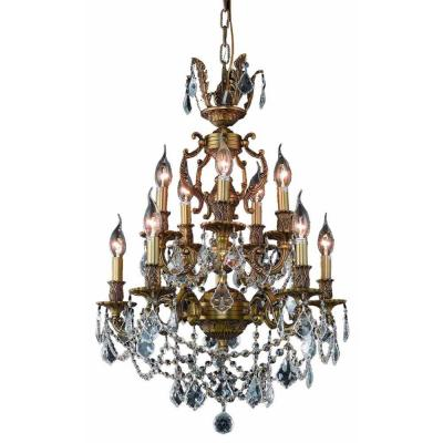 Elegant Lighting 10-Light French Gold Chandelier with Clear Crystal