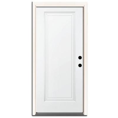 Premium 1-Panel Primed Steel Prehung Front Door