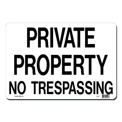 Lynch Sign 14 in. x 10 in. Black on White Plastic Private ...