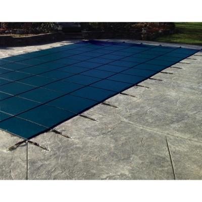 Rectangle Blue Solid In-Ground Safety Pool Cover