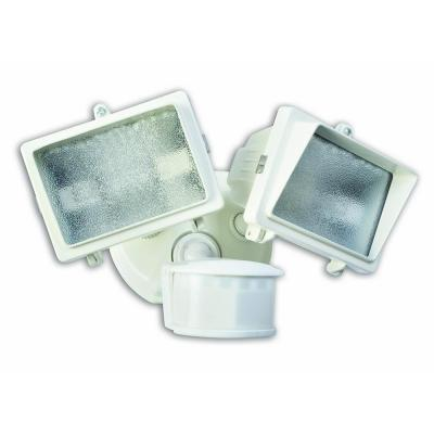Designer's Edge 300-Watt 270° White Diecast Metal Motion Activated Security Flood Light with Bulb and Twin Head