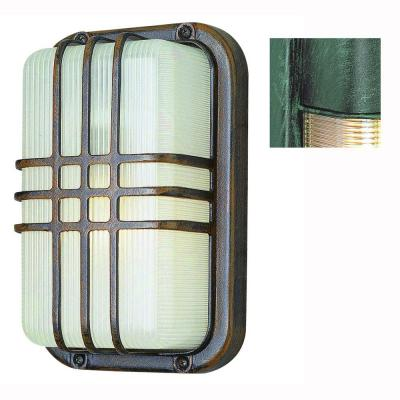 Bel Air Lighting Bulkhead 1-Light Outdoor Verde Green Wall or Ceiling Fixture with Clear Polycarbonate Shade