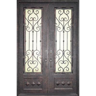 Iron doors unlimited 62 in x 98 in vita francese classic 3 4 lite painted oil rubbed bronze - Iron security doors home depot ...
