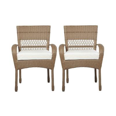 Martha Stewart Living Charlottetown Natural Patio Dining Chair With Custom Cushion 2 Pack 55