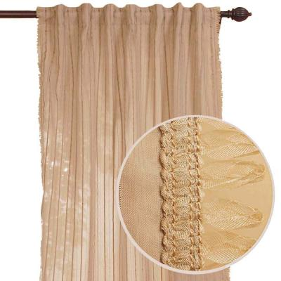 Home Decorators Collection Stripe Sheer Beige Curtain-DISCONTINUED