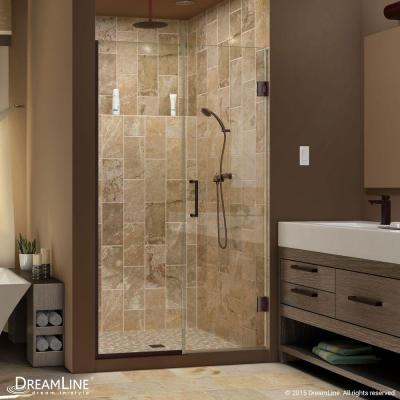 Unidoor Plus 48 to 48-1/2 in. x 72 in. Semi-Framed Hinged Shower Door with Hardware in Oil Rubbed Bronze Product Photo