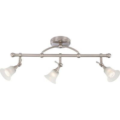 3-Light Brushed Nickel Fixed Track Lighting Bar with Directional Heads